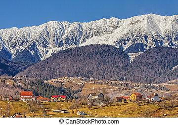 Piatra Craiului mountains, Romania - Sunny winter landscape...