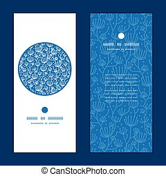 Vector blue white lineart plants vertical round frame pattern invitation greeting cards set
