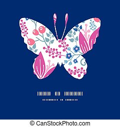 Vector pink flowers butterfly silhouette pattern frame