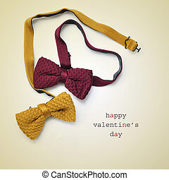 bow ties and text happy valentines day - two bow ties, one...