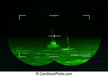 Infrared night view - The search for the lost ship - sea...