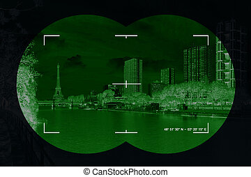 City in crosshairs - Modern city in the crosshairs of...