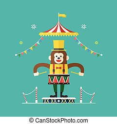 Monkey drummer circus theme - Flat design vector...