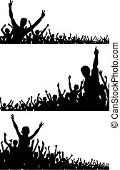 Crowd silhouettes - Set of editable vector crowd silhouettes...