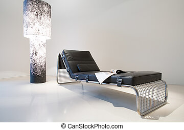 Designed leather sofa and expensive lamp, horizontal