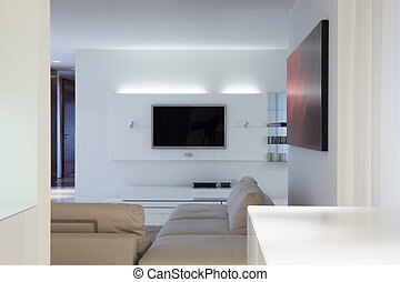 Designed living room with tv
