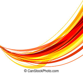 Ribbons - Abstract vector illustration of red and yellow...