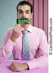 Businessman with electronic circuit in face