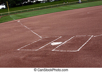Empty Softball Field - A view of a softball diamond at dusk....