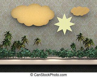rainforest on a shelf with clouds and sun cardboard