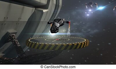 Military spacecraft with drones - Futuristic deep space...