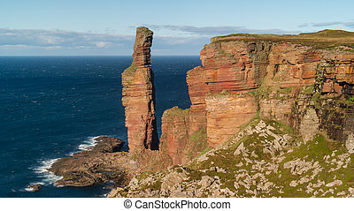 The Old Man of Hoy, sea stack on the island of Hoy, part of...