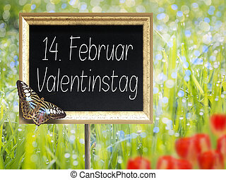 Chalkboard with german text 14. Februar Valentinstag - Blank...
