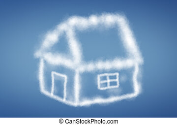 clouds in the form of a house