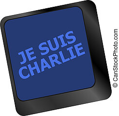 Je Suis Charlie text on keyboard keys, movement against...