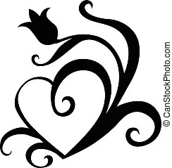 Tulip silhouette heart - Vector illustrations of silhouette...
