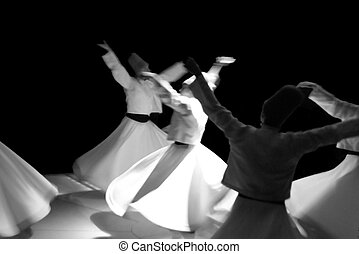 Whirling Dervishes - Whirling dervishes ceremony, a sacre...