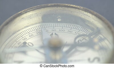 Close up view of the compass and its numbers use to get...