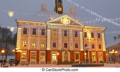 The town hall of Estonia with lights - The town hall of...