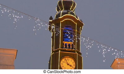The tower clock of the town hall with lights - The tower...