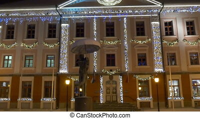 The beautiful town hall with lights of Estonia - The...