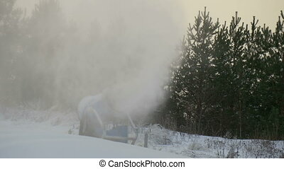 The blowing of snow with the snow blower There are lots pf...
