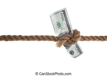 Banknote Tied In A Rope - Close-up Of Banknote Tied In A...