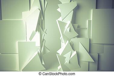 Conceitual, branca, sala, 3D, espaço, com,...