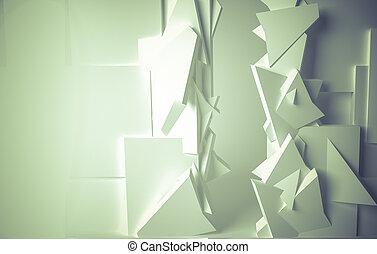 estúdio, branca, sala, 3D, espaço, com,...