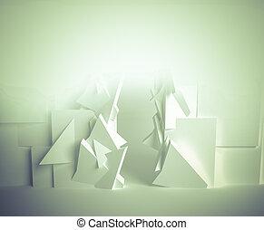 Expo., branca, sala, 3D, espaço, com, Vário,...
