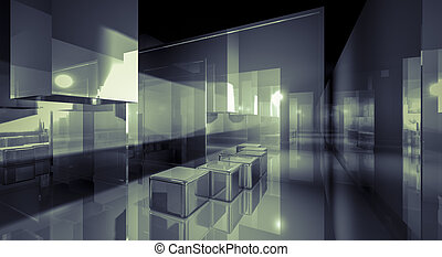 Creativity, illustration of 3d image of empty wall for...