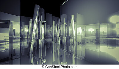 White, 3d business room, Hall building with light and...