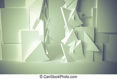 Hall, White room, 3d space with various forms - White room,...