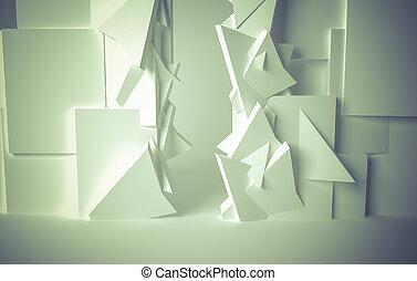 corredor, branca, sala, 3D, espaço, com,...