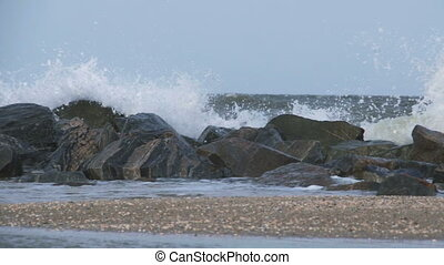 Waves breaking on a seashore - Powerful rollers or waves...