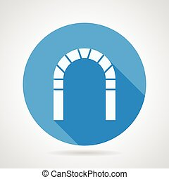 Flat vector icon for brick archway - Flat round blue vector...