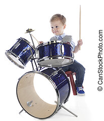 Little Drummer Boy - A young preschooler enjoying playing on...