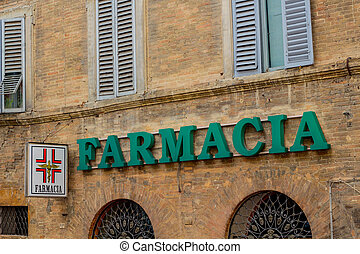 Signboard of Pharmacy - old commercial sign for medicine