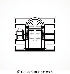 Facade arch door black line vector icon