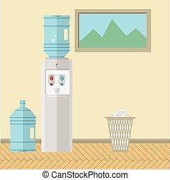 Flat vector illustration of office interior - Gray water...