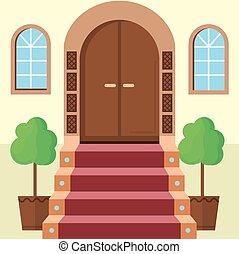 平ら, ベクトル, イラスト, の, fa?ade, ドア, ∥で∥, 階段,