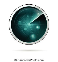 Vector illustration of radar screen with curved grid