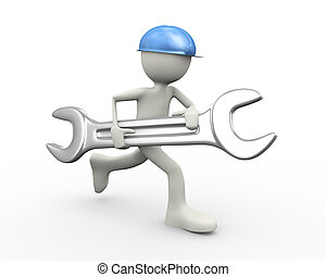 3d man running with large wrench - 3d illustration of man in...