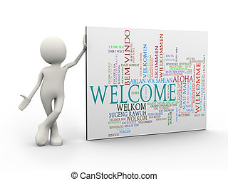 3d man standing with welcome wordcloud word tags - 3d...