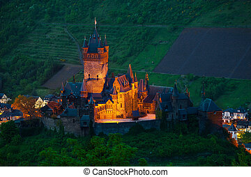 Panorama of Cochem castle and town from above - Panorama of...
