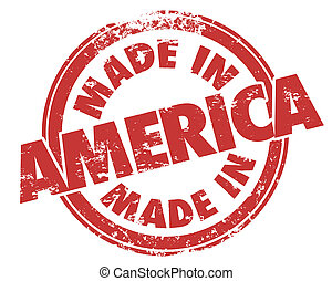 Made in America Round Red Grunge Stamp USA Manufactured...
