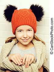 demi clothing - Cute smiling teenager girl wearing warm...