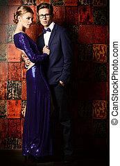 full length portrait - Beautiful gorgeous couple in elegant...