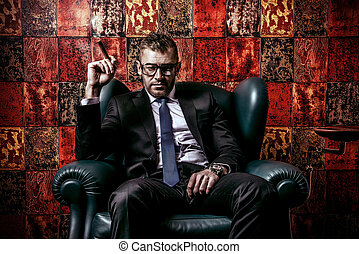 tycoon - Handsome mature man in elegant suit smoking a cigar...