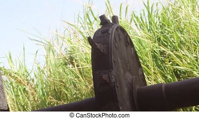Ancient aqueduct gear wheel - Aqueduct gear wheel located on...